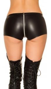 Sexy KouCla Gogo Leatherlook Hot Pants Black