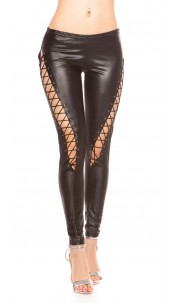 Sexy KouCla Leggings with lacing in the front Black