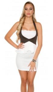 Sexy KouCla neckholder mini dress with peplum White
