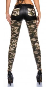 Sexy KouCla shinny leggings with pockets Army