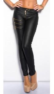 Sexy KouCla leatherlookpants with zip Black