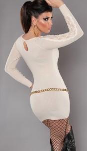 Sexy KouCla knit-minidress with lace Beige