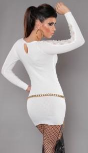 Sexy KouCla knit-minidress with lace White