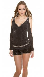 Sexy KouCla party glitter shirt Blacksilver