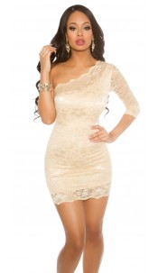 Sexy Party One-Arm-Minidress laced Sandgold
