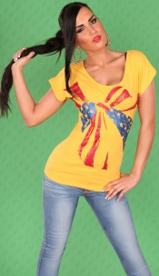 Sexy Shirt with short sleeves and USA-Loop Yellow