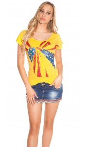 Sexy short sleeve shirt with USA bow Yellow