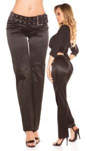Sexy KouCla trousers with buckle and pinstripes Black