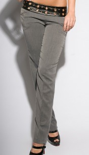 Sexy KouCla pants with studs and leatherlook Anthracite