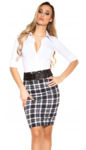 Sexy KouCla skirt with squareprint with belt Blackwhite