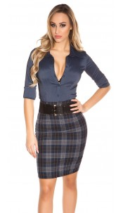 Sexy KouCla skirt with squareprint with belt Navy