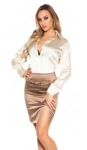 Sexy KouCla Pencilskirt with belt and glitter Cappuccino