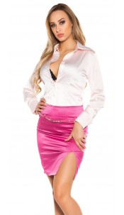 Sexy KouCla Pencilskirt with belt and glitter Fuchsia