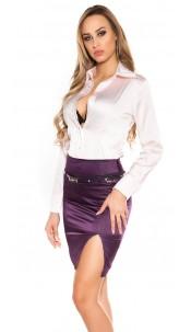 Sexy KouCla Pencilskirt with belt and glitter Purple