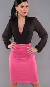 Sexy KouCla Highwaist Pencilskirt in leatherlook Fuchsia