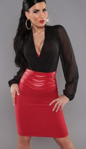 Sexy KouCla Highwaist Pencilskirt in leatherlook Red