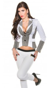 Trendy KouCla Business-Blazer w. caro-applications White