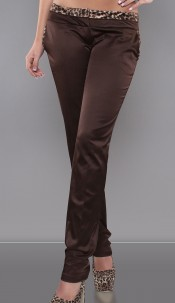 Sexy KouCla-pants with leoprint Brown
