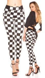 Trendy skinnytrousers in square-pattern Blackwhite