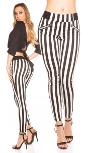 Trendy Skinnytrousers, striped with zips Blackwhite