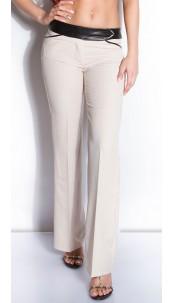 Sexy KouCla business-pants with leatherlook Beige