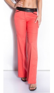 Sexy KouCla business-pants with leatherlook Coral