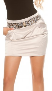 Sexy miniskirt in businesslook with stiched belt Beige