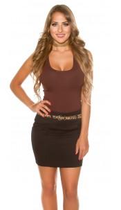 Sexy mini skirt with Leo belt Black