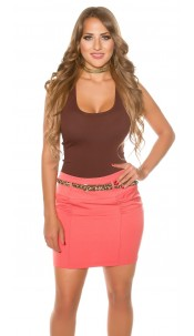 Sexy mini skirt with Leo belt Coral