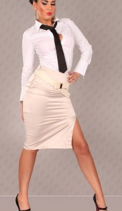 Sexy Waist-Skirt with Belt and slit Beige