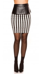 Sexy KouCla pencilskirt with peplum, stripped Blackwhite