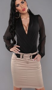 Sexy Pencilskirt by KouCla with pockets a. buttons Beige