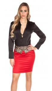 Sexy Business miniskirt with leoloop Red