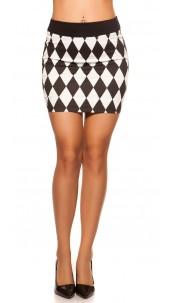 Sexy KouCla miniskirt in diamond design Blackwhite
