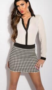 Sexy KouCla miniskirt with houndstooth design Blackwhite