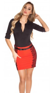 Sexy KouCla pencilskirt with band and lace Red