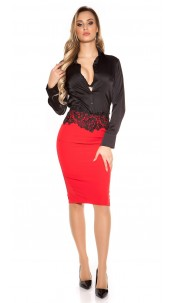 Sexy KouCla pencil skirt with embroidery Red