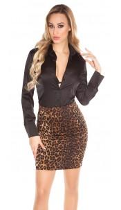 Sexy KouCla mini skirt with zipp and animal print Leo