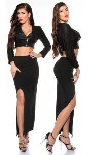 Sexy KouCla maxi skirt with sexy leg slit Black