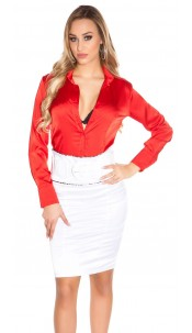 Sexy Pencilskirt in businesslook with belt White