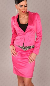 Sexy waisted Blazer with puffsleeves Fuchsia