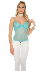 Sexy lace top with flowers + gold Turquoise