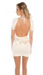Sexy minidress with bow, backfree Beige