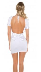 Sexy minidress with bow, backfree White