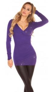 Sexy KouCla Sweater in wrap-look with rhinestones Purple