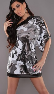 Sexy One-Arm-Minidress with Flowerprint Black