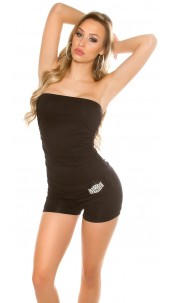 Sexy bandeau jumpsuit with rhinestone buckle Black