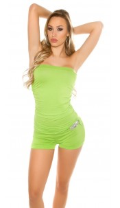 Sexy bandeau jumpsuit with rhinestone buckle Green