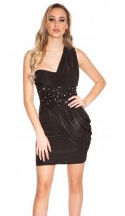 Sexy Goddess One-Shoulder Mini Dress Black
