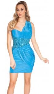 Sexy Goddess One-Shoulder Mini Dress Blue